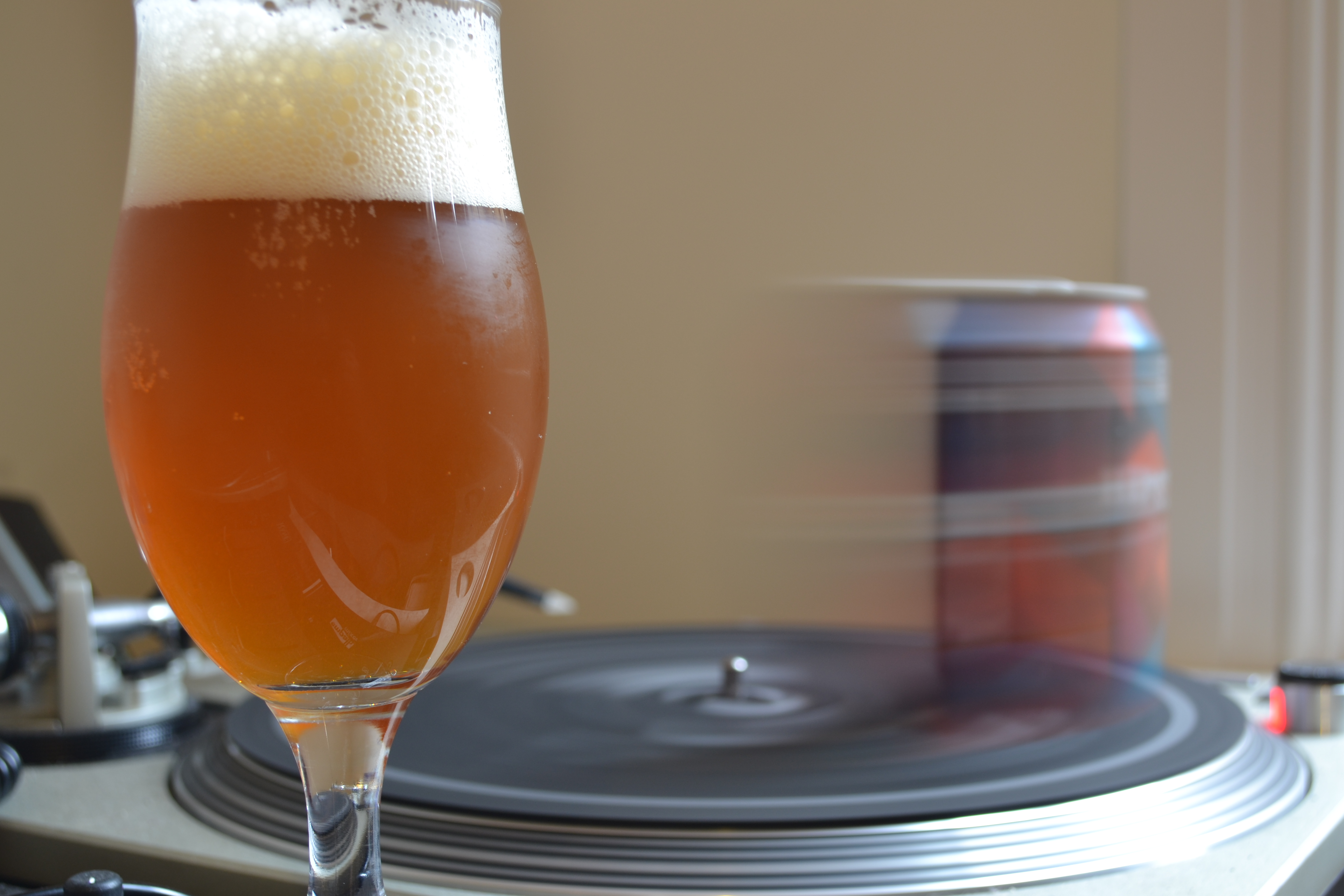 Hipster ale on turntable
